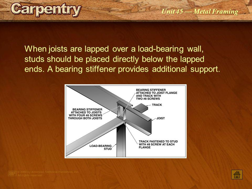 When joists are lapped over a load-bearing wall, studs should be placed directly below the lapped ends. A bearing stiffener provides additional support.