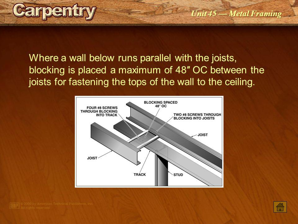 Where a wall below runs parallel with the joists, blocking is placed a maximum of 48″ OC between the joists for fastening the tops of the wall to the ceiling.