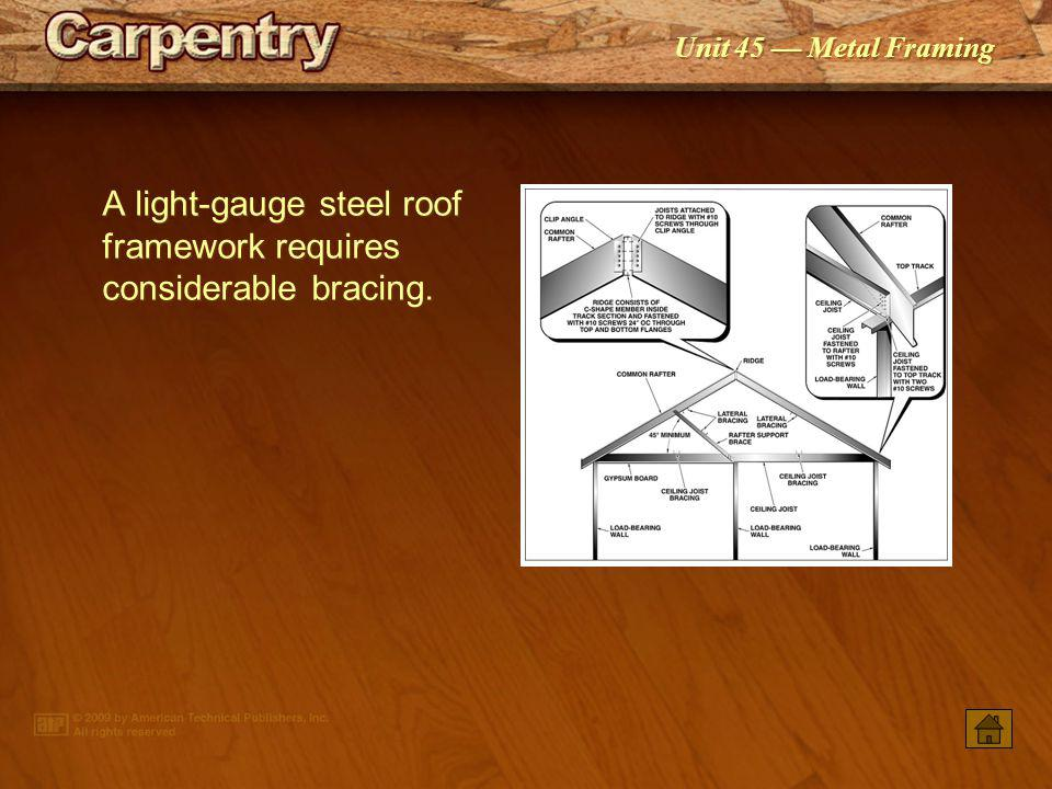 A light-gauge steel roof framework requires considerable bracing.
