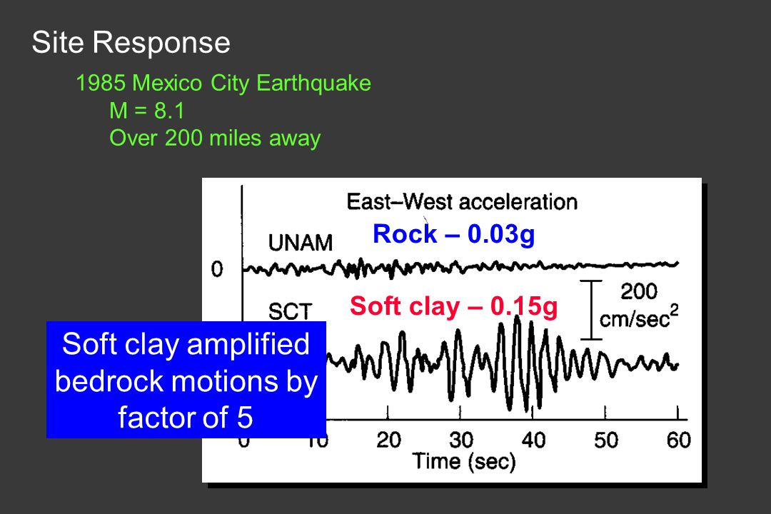 Soft clay amplified bedrock motions by factor of 5