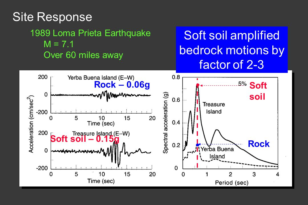 Soft soil amplified bedrock motions by factor of 2-3