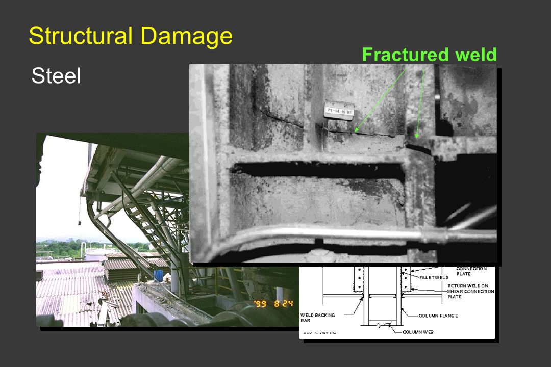 Structural Damage Fractured weld Steel