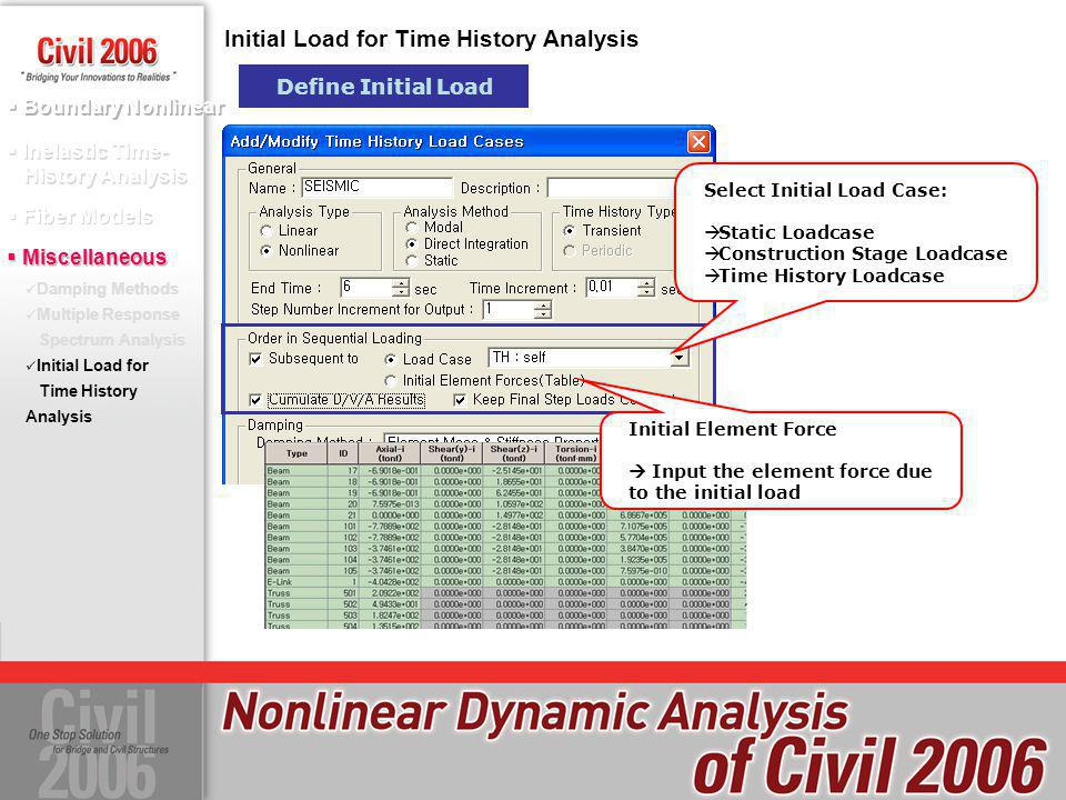 Initial Load for Time History Analysis