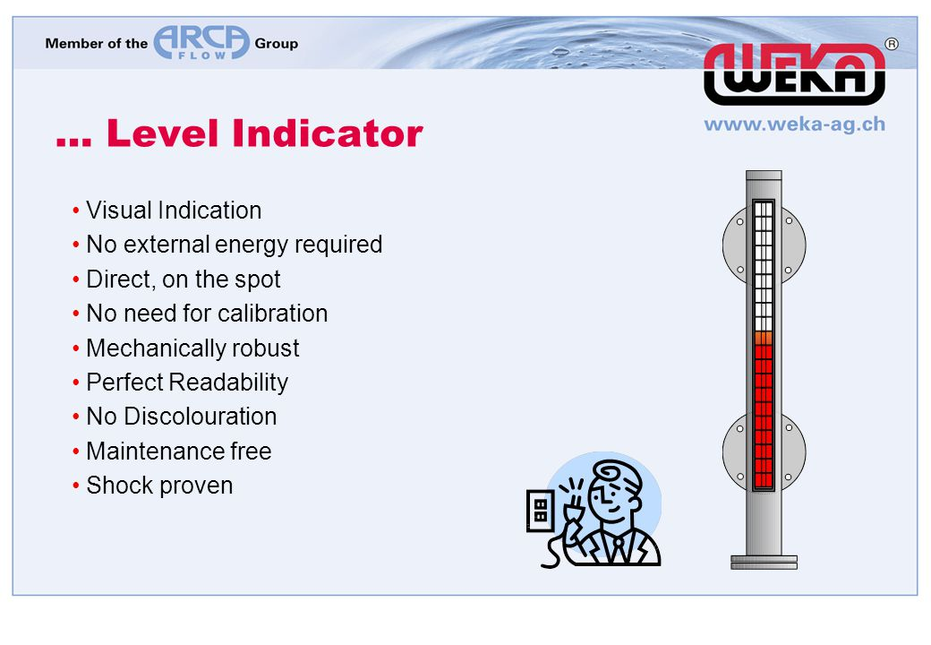 … Level Indicator Visual Indication No external energy required