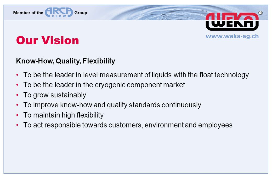 Our Vision Know-How, Quality, Flexibility