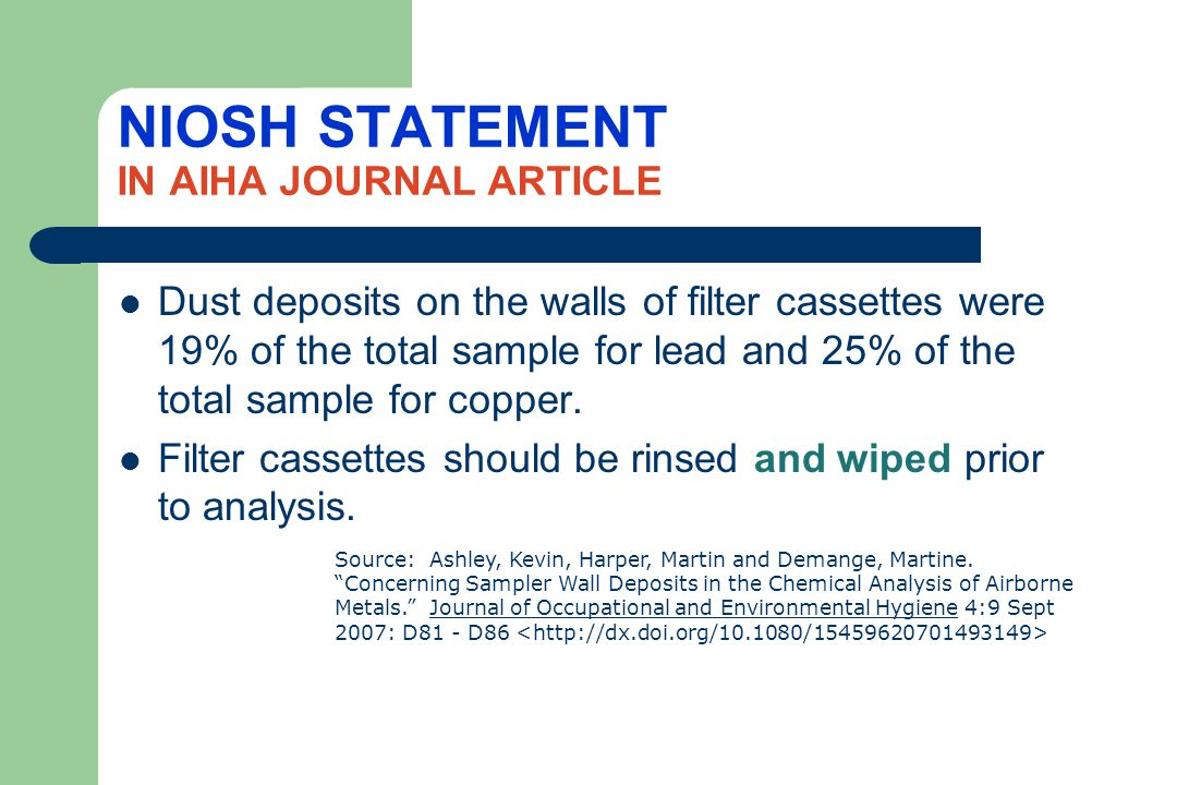 NIOSH STATEMENT IN AIHA JOURNAL ARTICLE