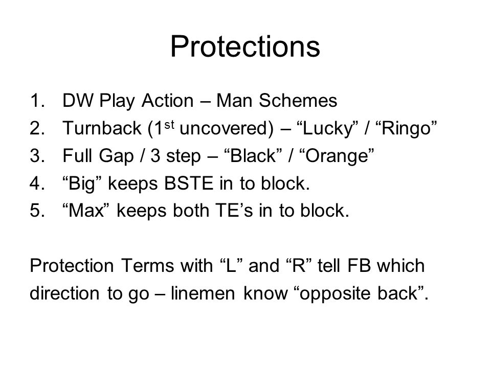 Protections DW Play Action – Man Schemes