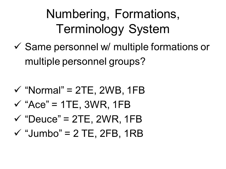 Numbering, Formations, Terminology System