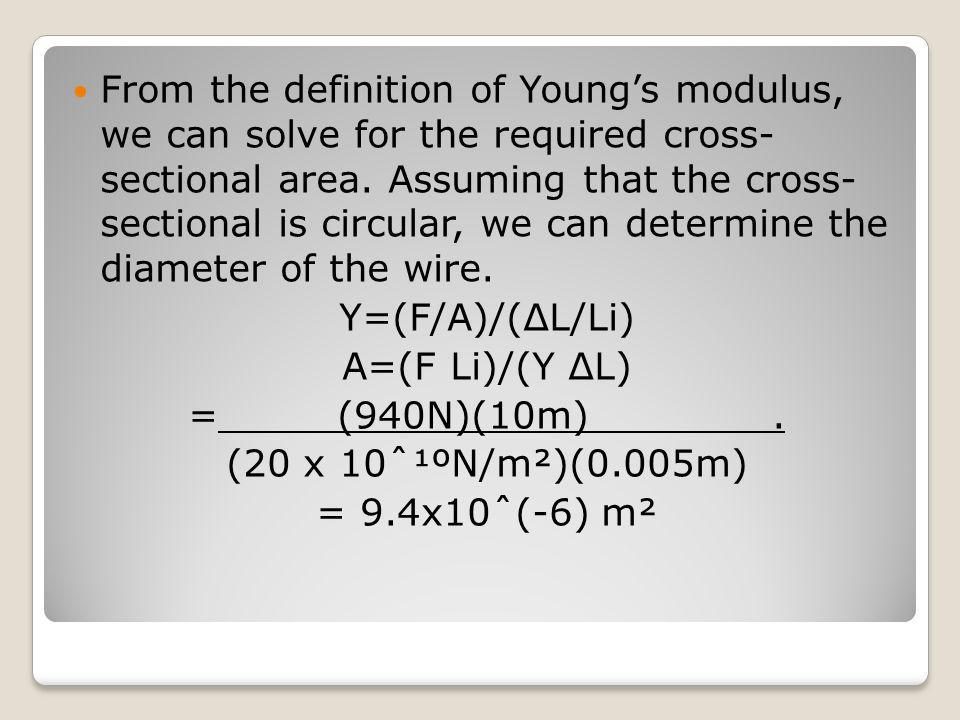 From the definition of Young's modulus, we can solve for the required cross- sectional area. Assuming that the cross- sectional is circular, we can determine the diameter of the wire.