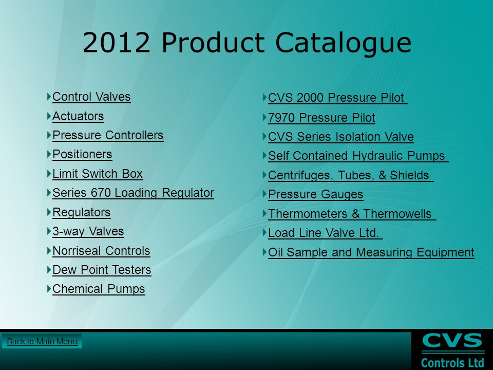 2012 Product Catalogue Control Valves CVS 2000 Pressure Pilot