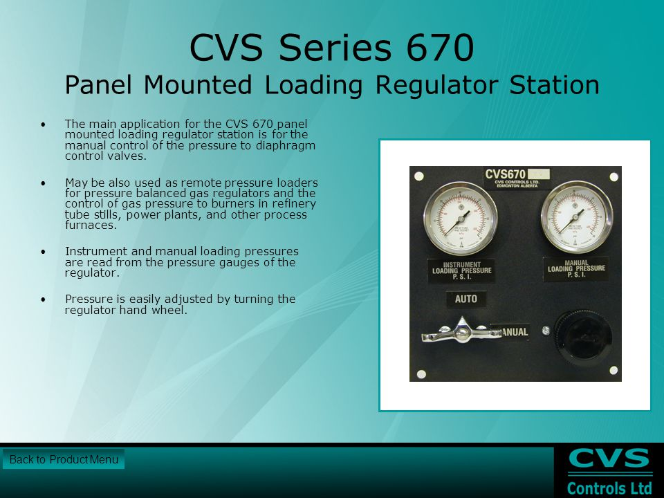 CVS Series 670 Panel Mounted Loading Regulator Station