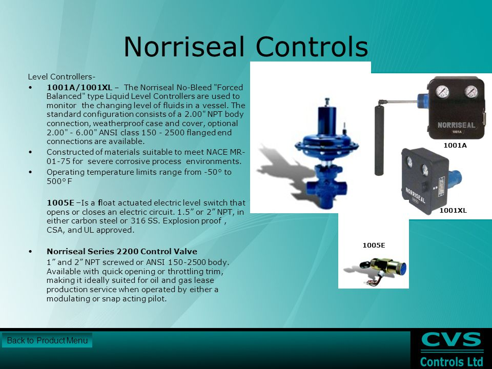 Norriseal Controls Back to Product Menu Level Controllers-