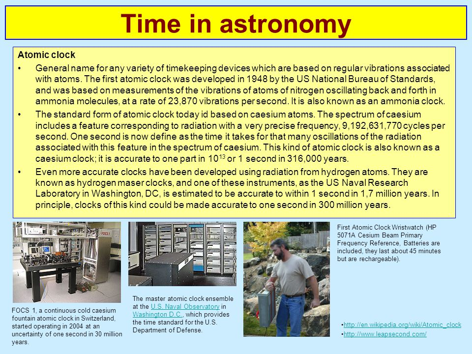 Time in astronomy Atomic clock