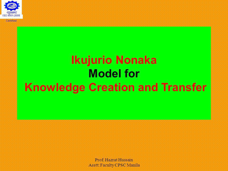 Ikujurio Nonaka Model for Knowledge Creation and Transfer