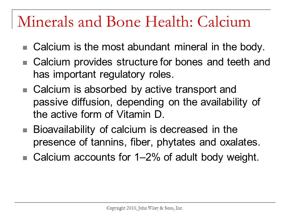 Minerals and Bone Health: Calcium