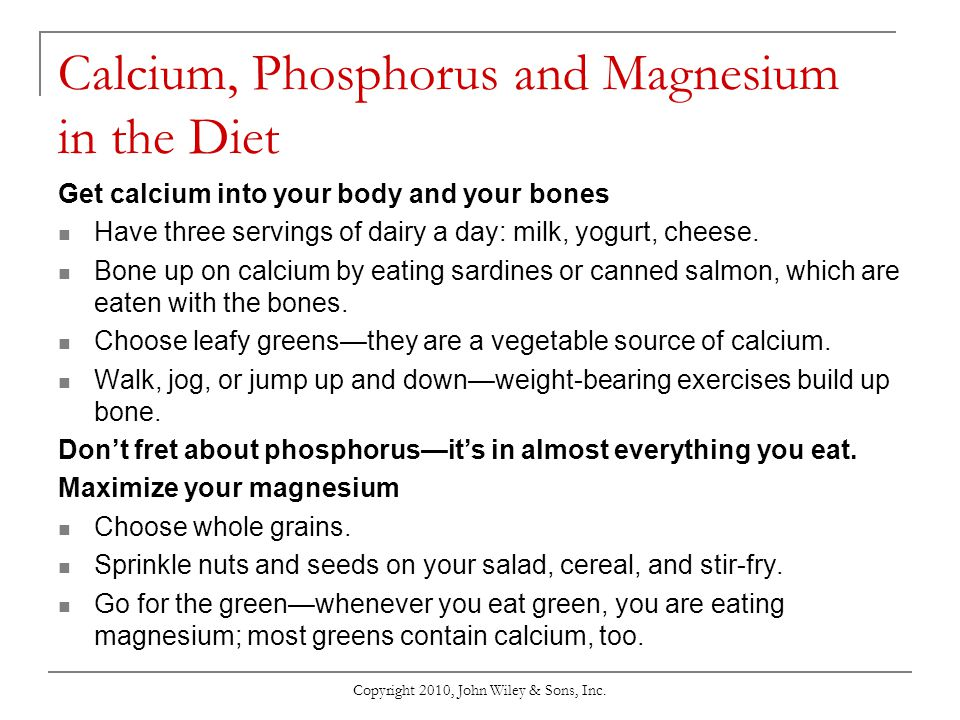 Calcium, Phosphorus and Magnesium in the Diet