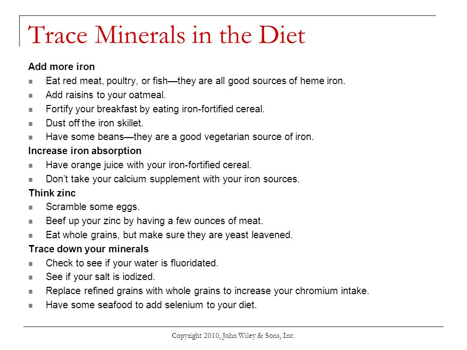 Trace Minerals in the Diet