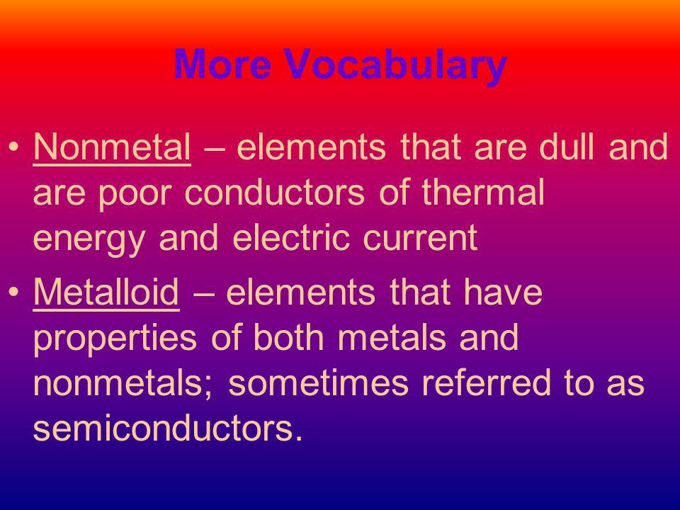 More Vocabulary Nonmetal – elements that are dull and are poor conductors of thermal energy and electric current.