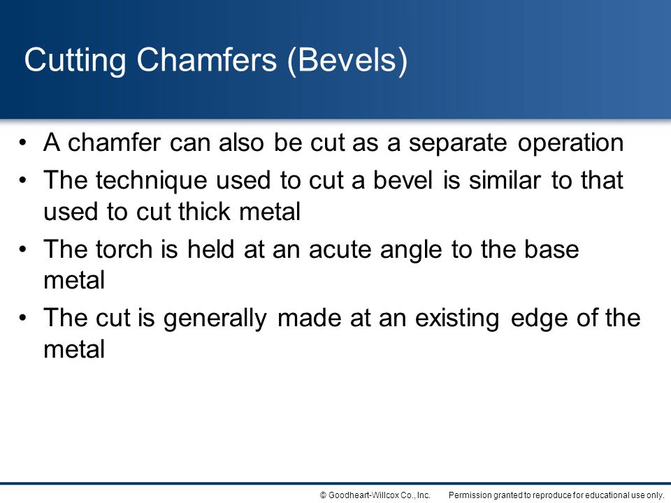 Cutting Chamfers (Bevels)