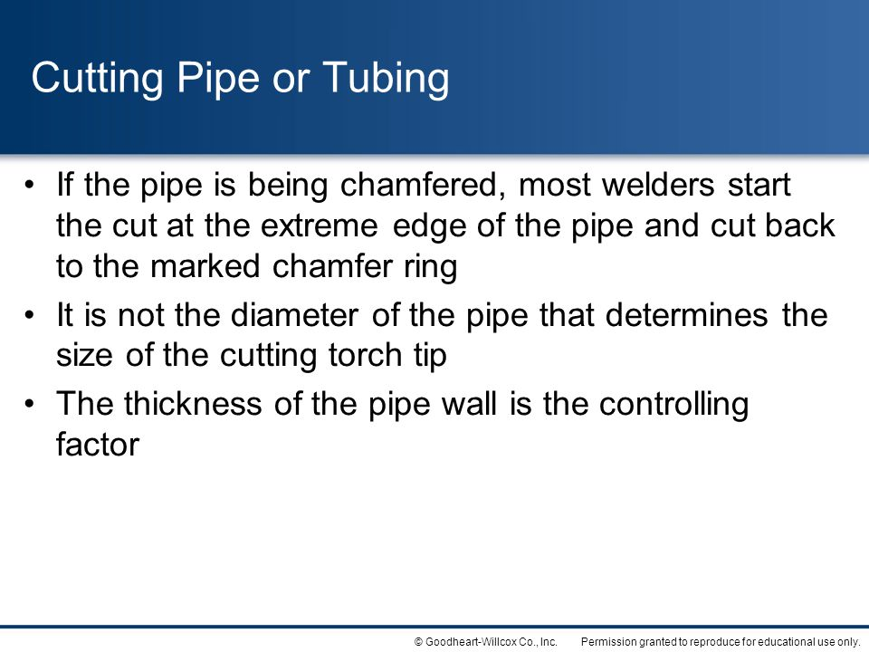 Cutting Pipe or Tubing