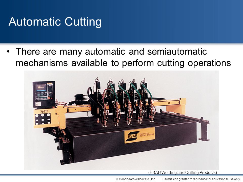 Automatic Cutting There are many automatic and semiautomatic mechanisms available to perform cutting operations.
