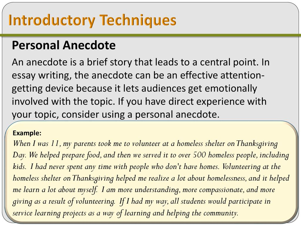 14 Introductory Techniques Personal Anecdote