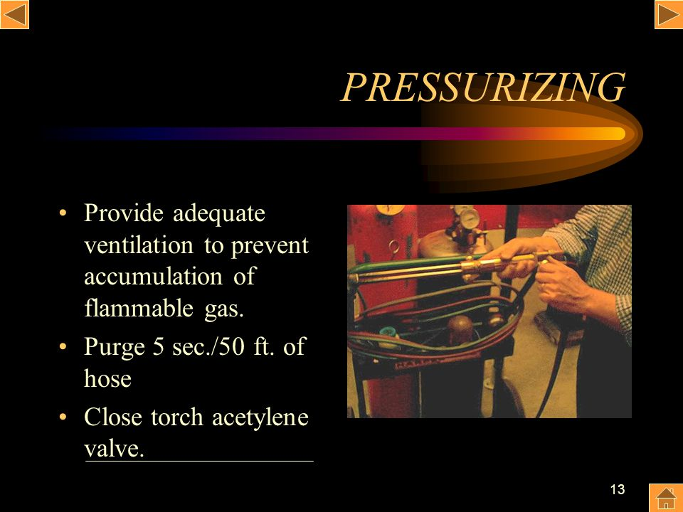 PRESSURIZING Provide adequate ventilation to prevent accumulation of flammable gas. Purge 5 sec./50 ft. of hose.