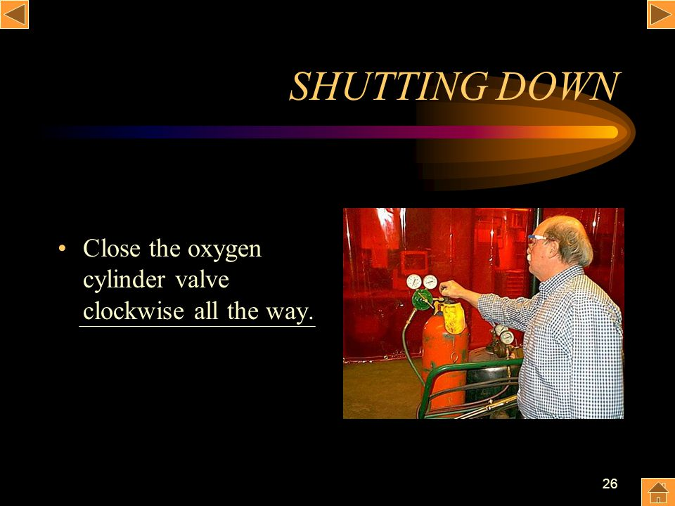 SHUTTING DOWN Close the oxygen cylinder valve clockwise all the way.