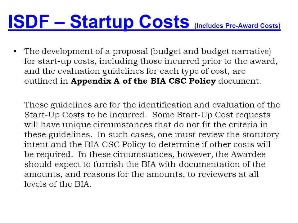 Contract Support Costs (Start-up Costs) - ppt download