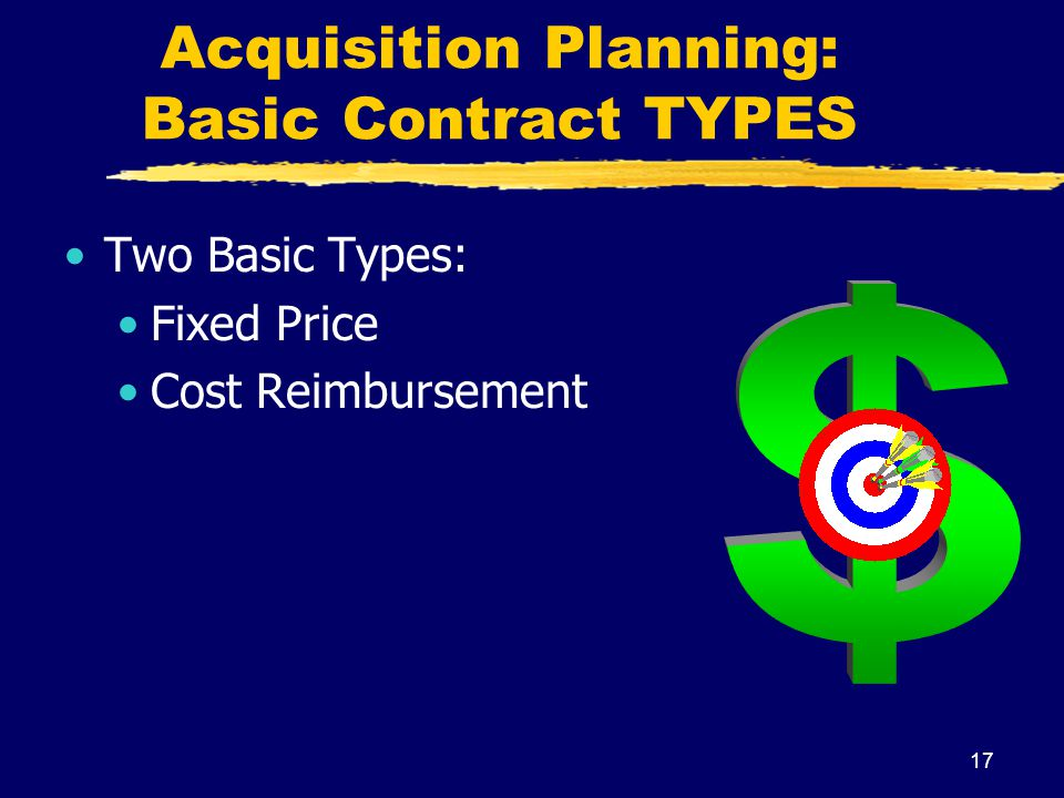Acquisition Planning: Basic Contract TYPES