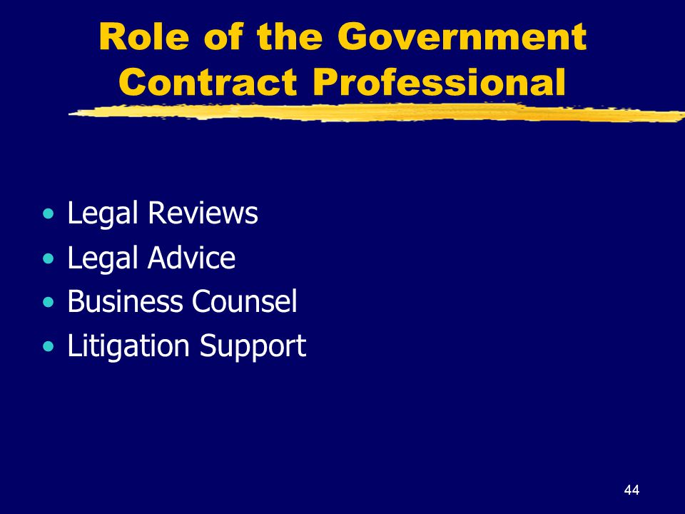 Role of the Government Contract Professional