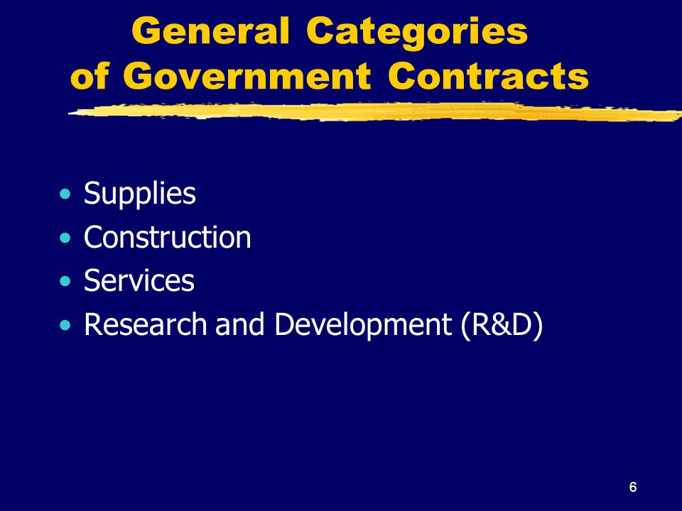 General Categories of Government Contracts