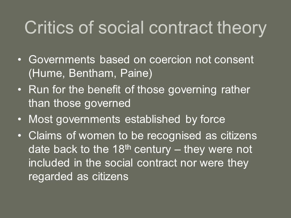 Critics of social contract theory