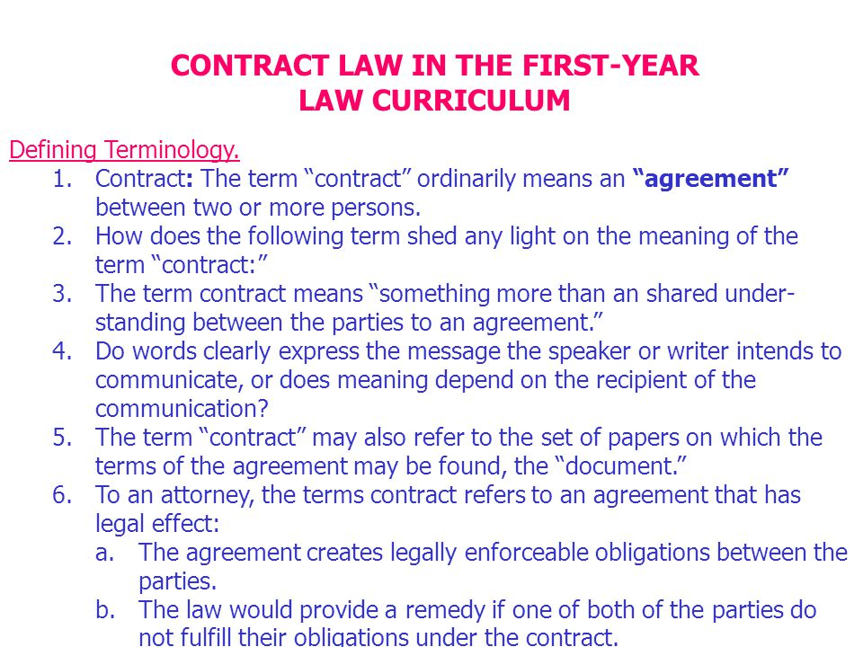 Contract Law In The First Year Ppt Download