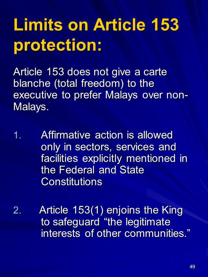 Limits on Article 153 protection: