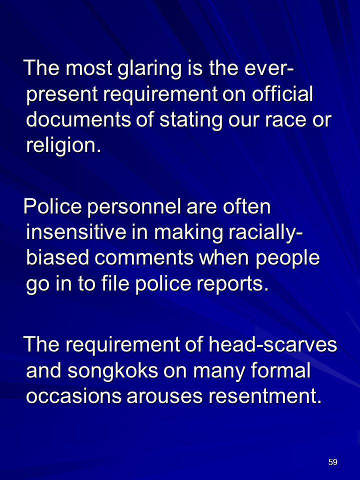 The most glaring is the ever-present requirement on official documents of stating our race or religion.