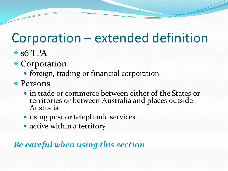 Corporation – extended definition