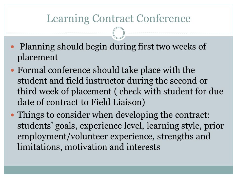 Learning Contract Conference