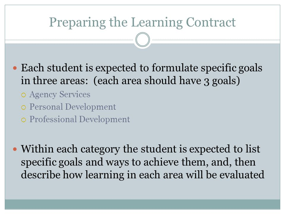 Preparing the Learning Contract