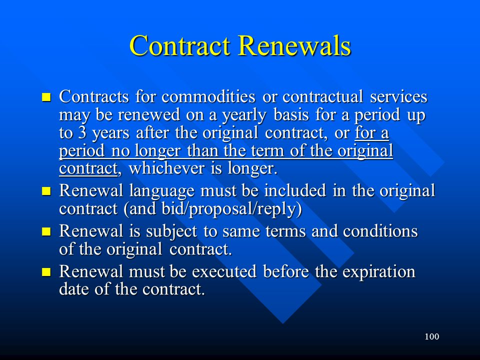 Contract Renewals
