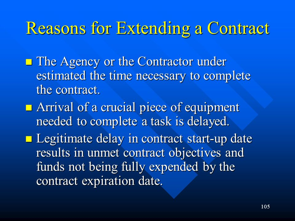 Reasons for Extending a Contract
