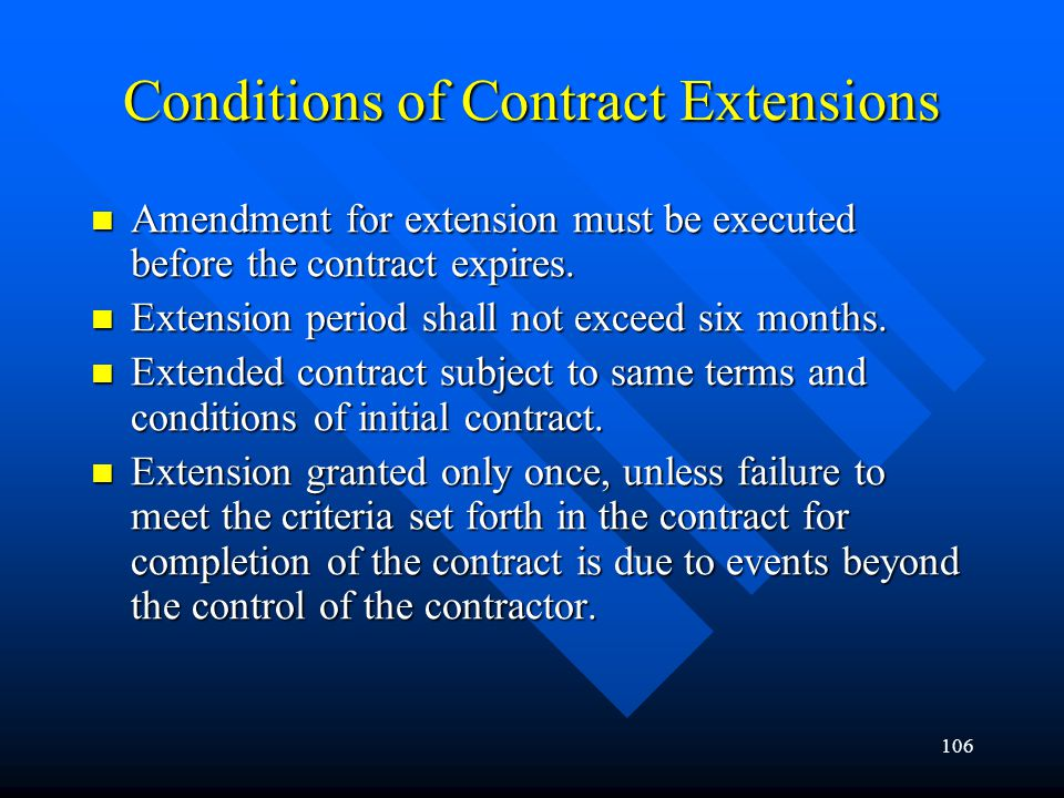 Conditions of Contract Extensions