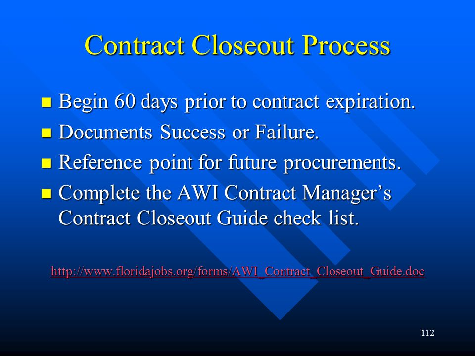 Contract Closeout Process