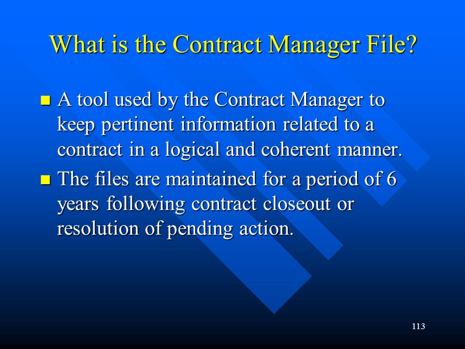 What is the Contract Manager File