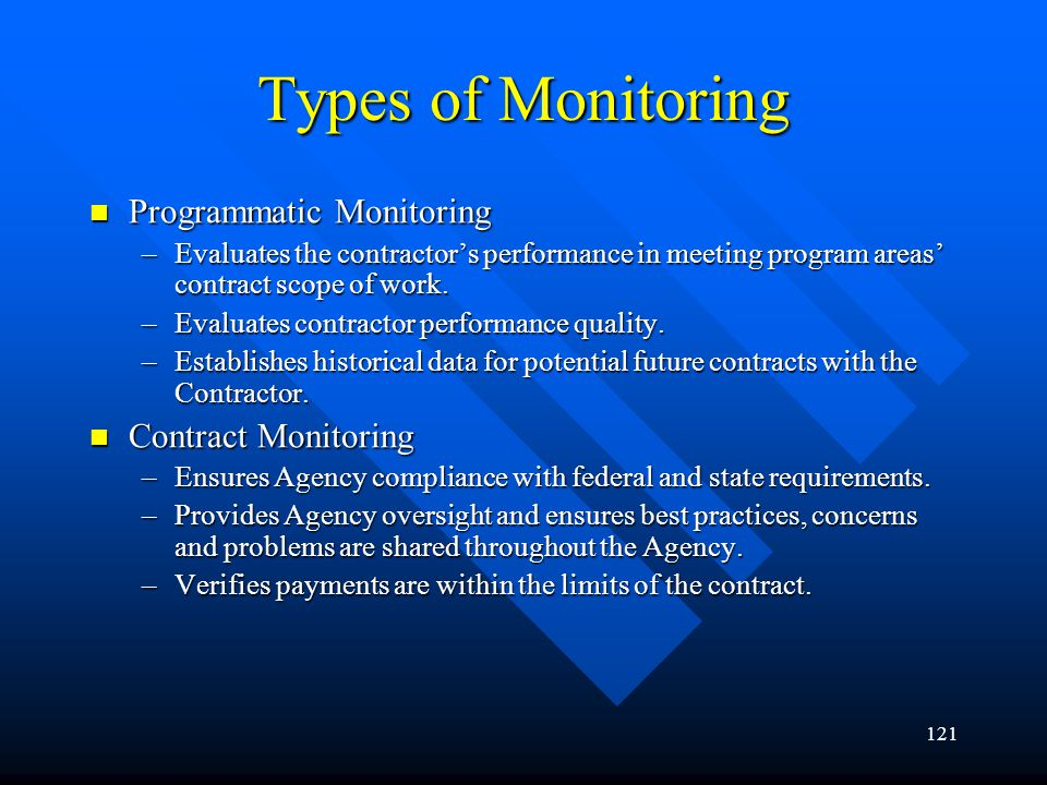Types of Monitoring Programmatic Monitoring Contract Monitoring