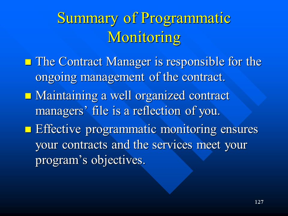 Summary of Programmatic Monitoring