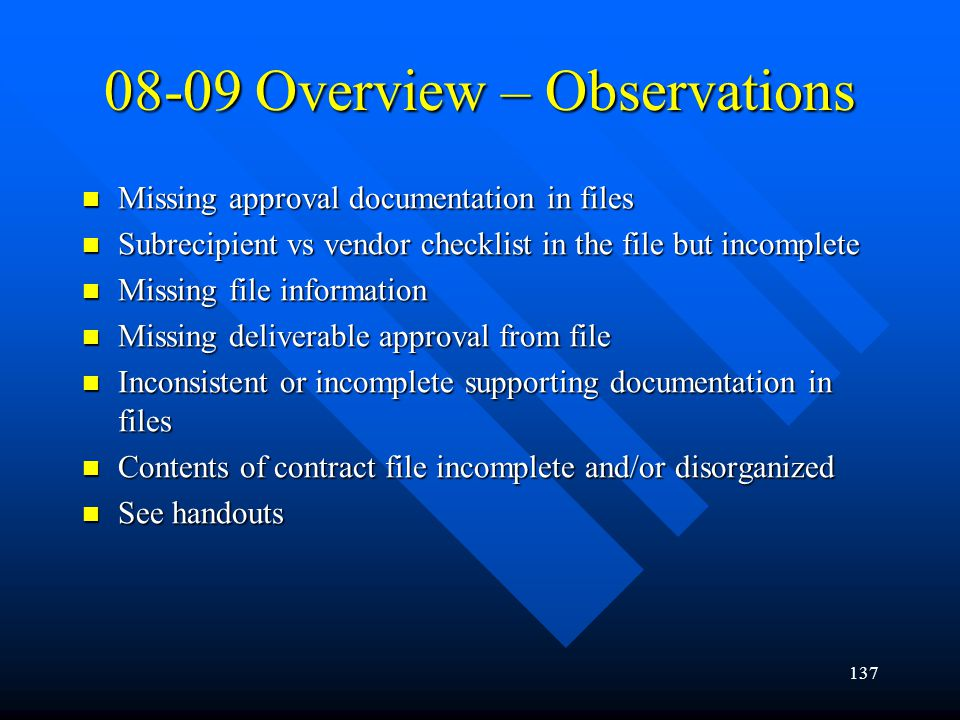 08-09 Overview – Observations