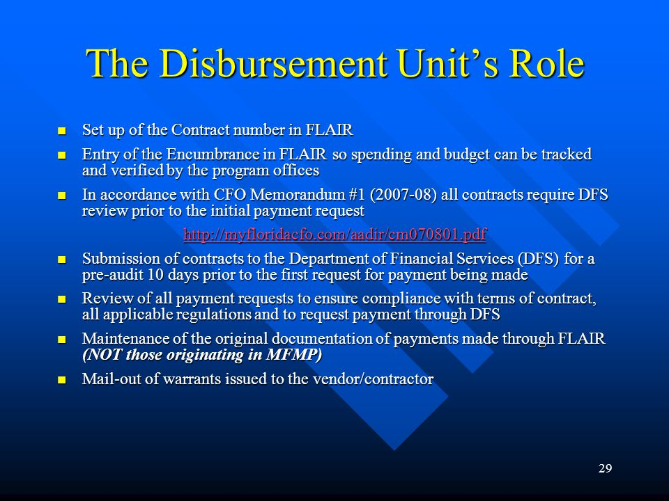 The Disbursement Unit's Role