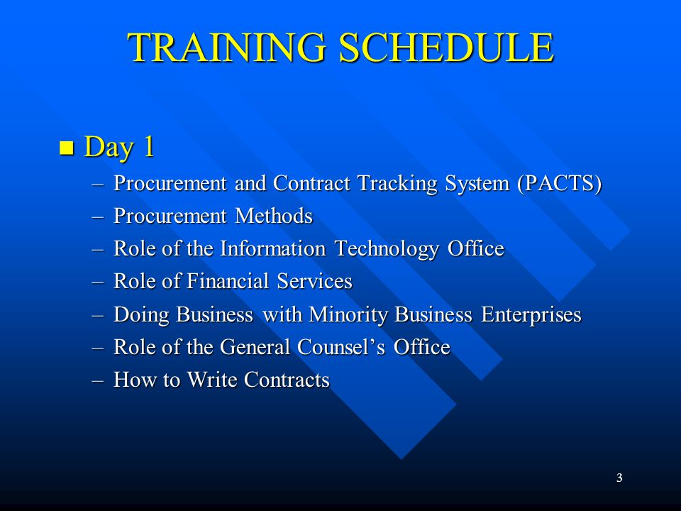 TRAINING SCHEDULE Day 1. Procurement and Contract Tracking System (PACTS) Procurement Methods. Role of the Information Technology Office.