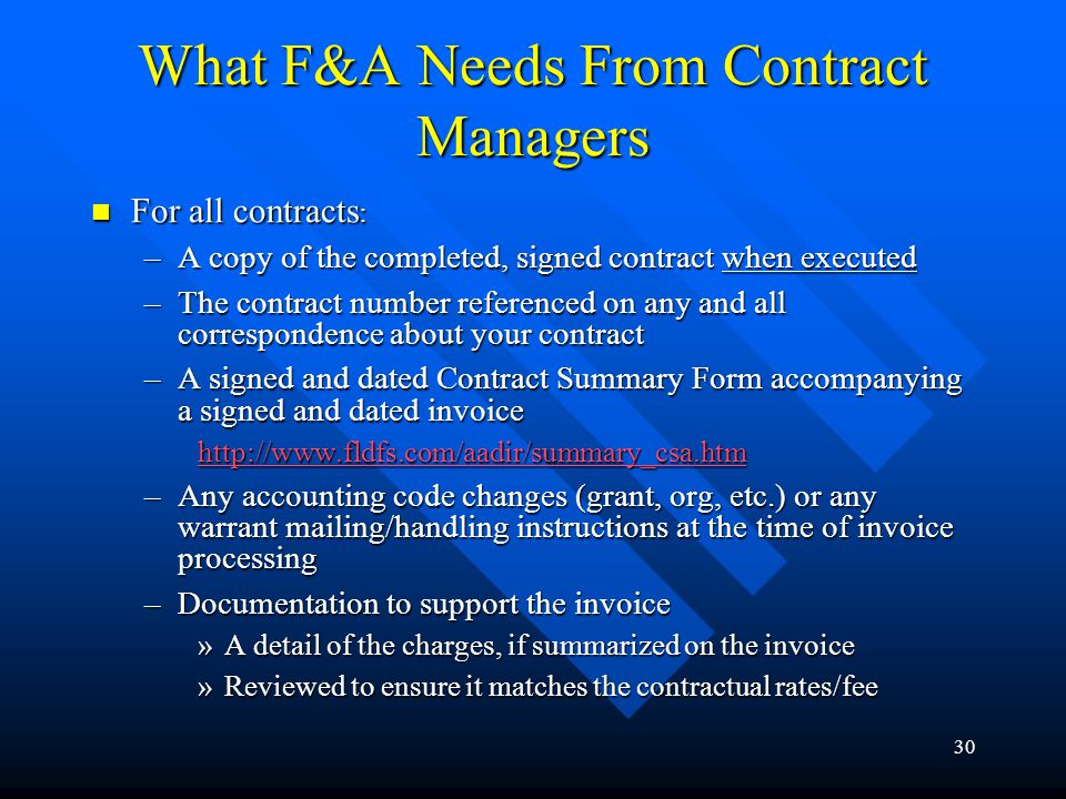What F&A Needs From Contract Managers